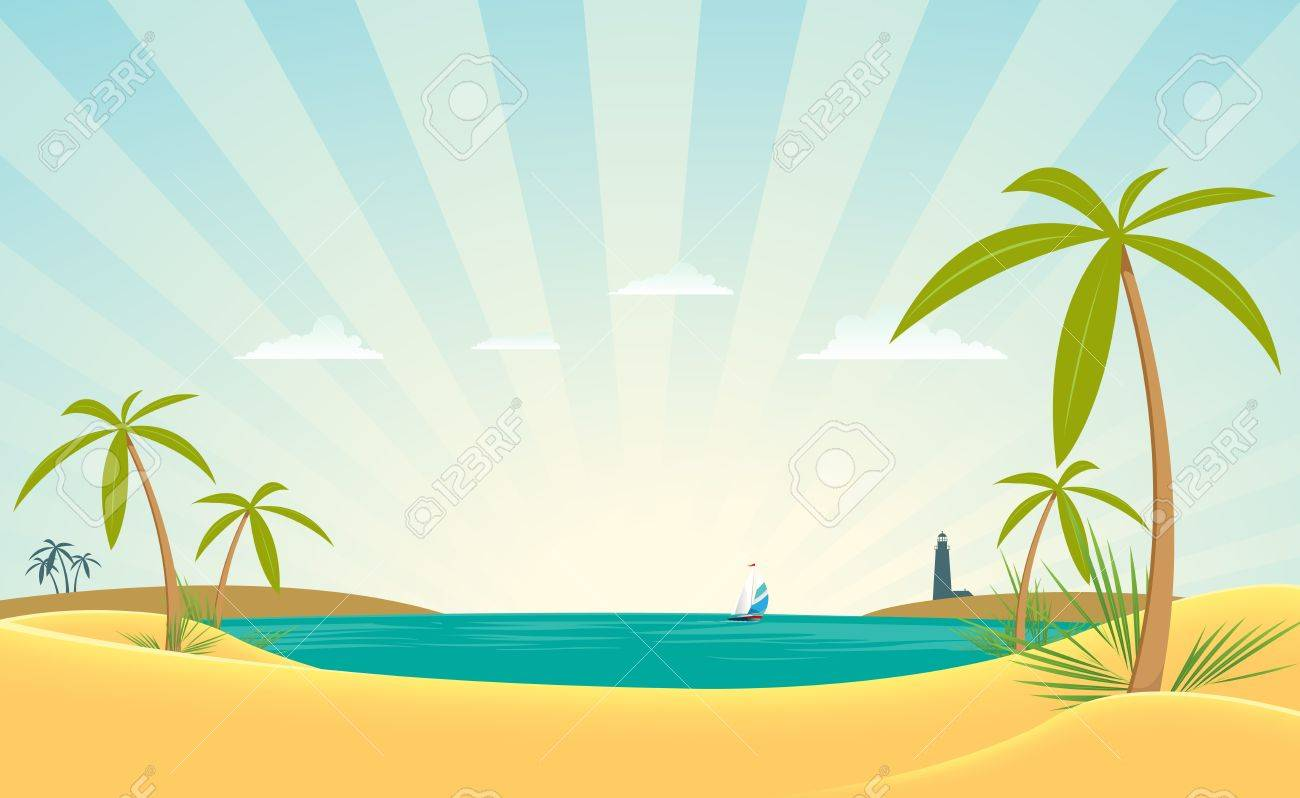 Illustration Of A Ocean Beach Landscape With Palm Trees And Lighthouse Stock Vector