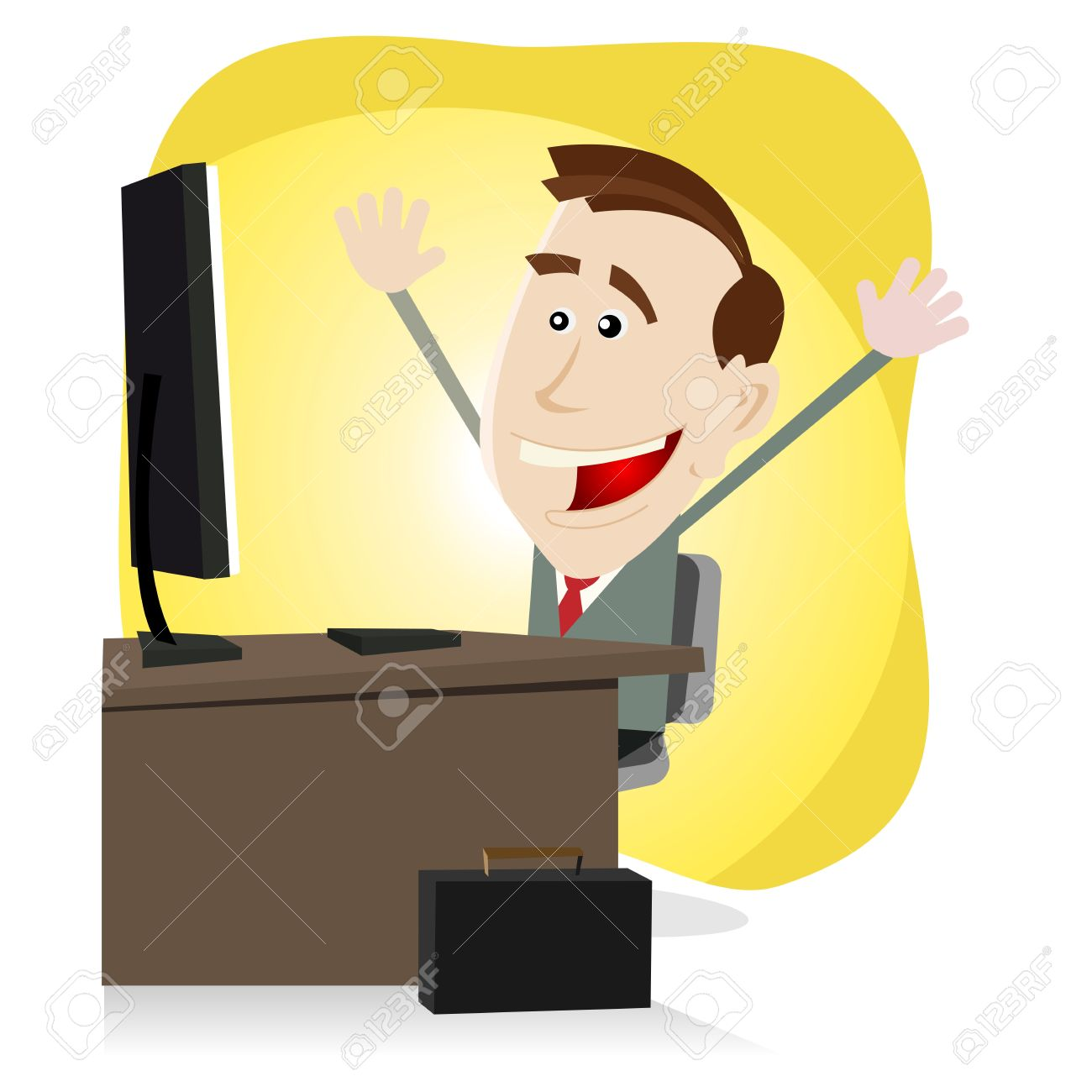 Illustration of a cartoon happy business man finding happiness on the web or on his Desktop Computer Stock Vector - 11248659