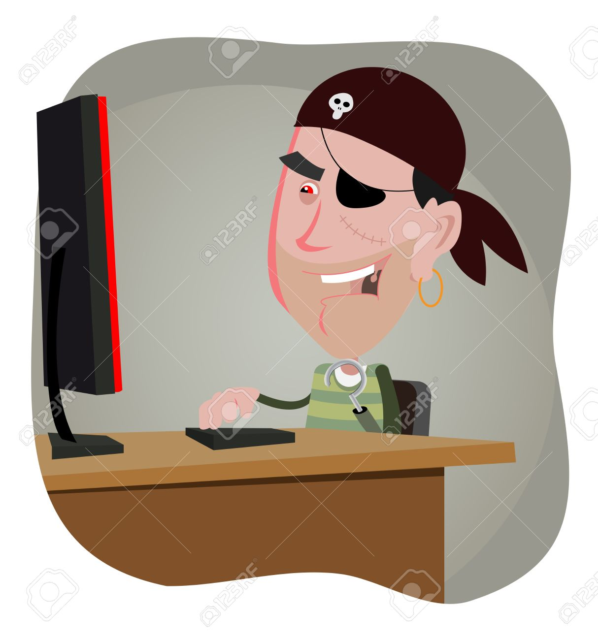 Illustration of a cartoon computer pirate hacker Stock Vector - 11248672