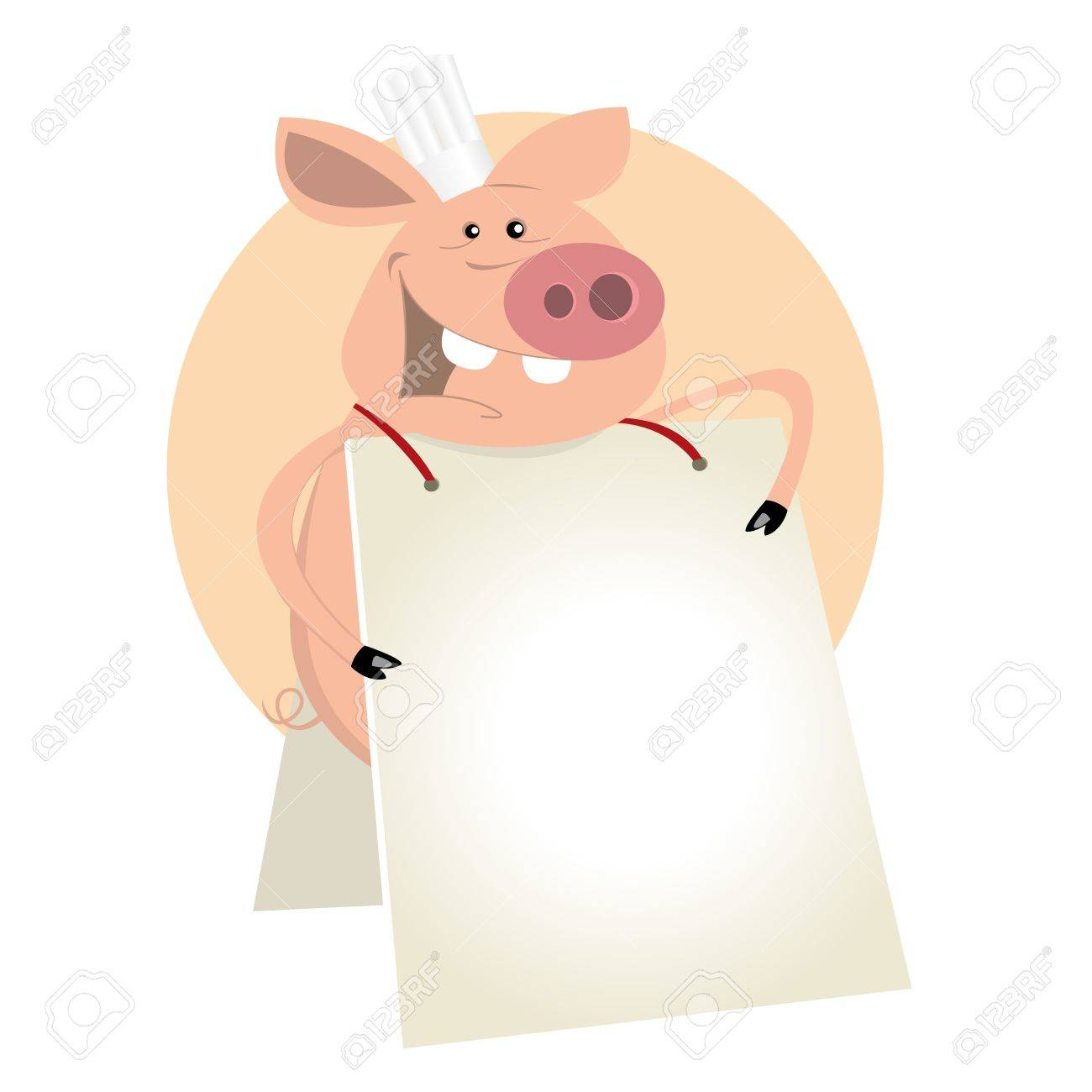 Illustration of a cartoon pig cook showing his menu standing like a sandwich- man Stock Vector - 11248660