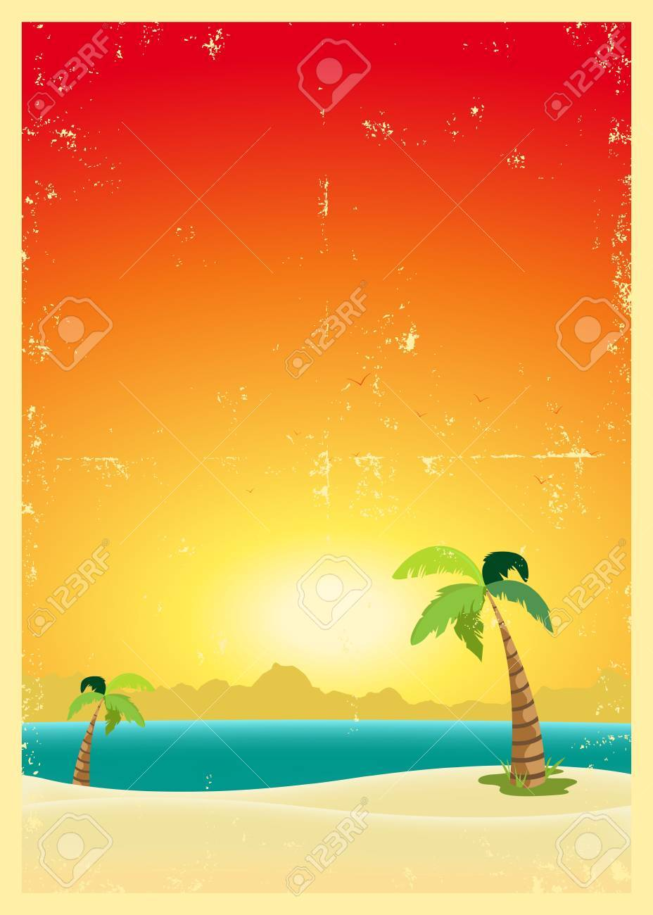 Illustration of an exotic beach with palm trees and a grunge texture Stock Vector - 11248816