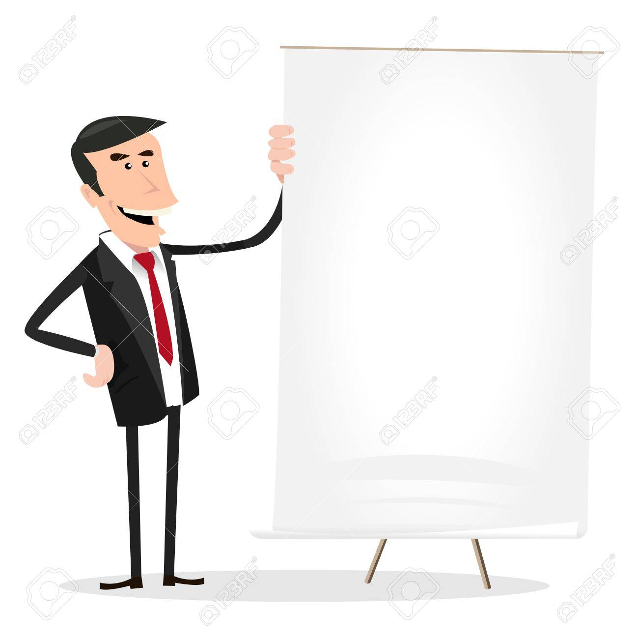 Illustration of a happy cartoon businessman showing excellent income results on a white board Stock Vector - 11248749