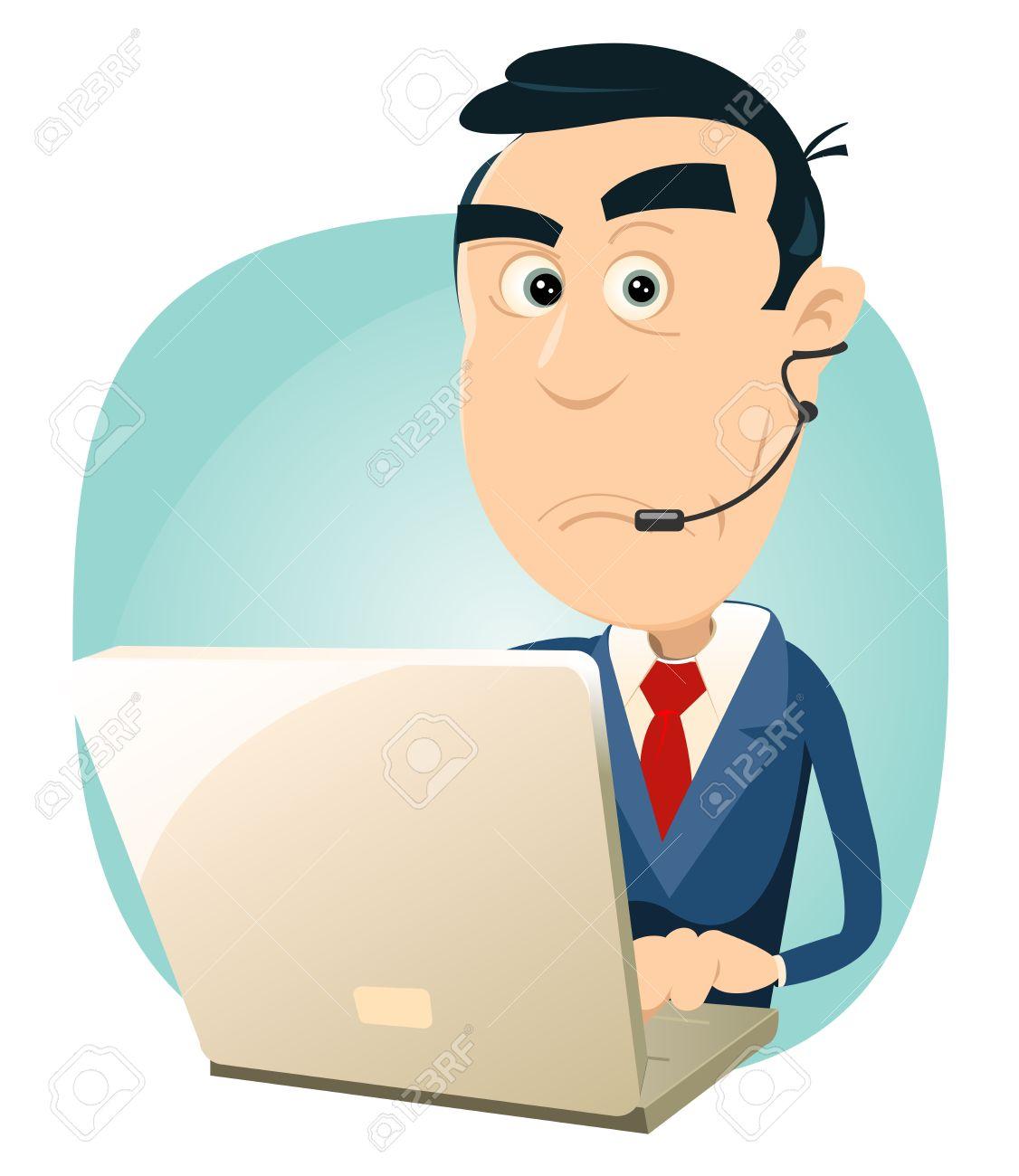 Illustration of a cartoon surprised man IT support Stock Vector - 11248765