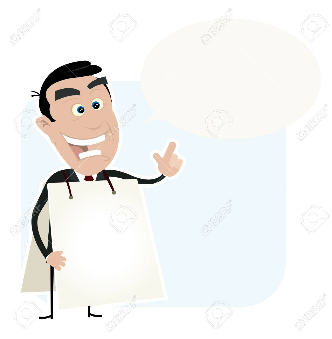 Illustration of a cartoon white young sandwich man telling good advice Stock Vector - 11248760
