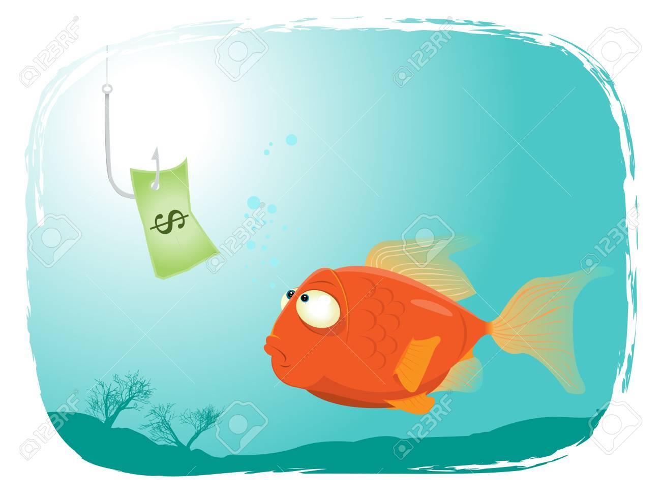 Illustration of a cartoon fish looking at dollar paper Stock Vector - 11248803
