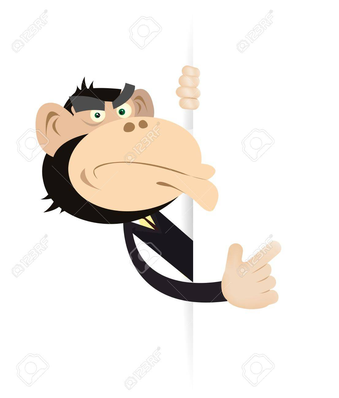 Illustration of a cartoon monkey businessman showing a blank sign Stock Vector - 11248844