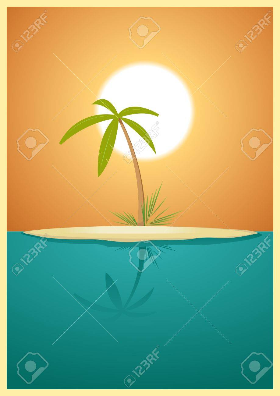 Illustration of a designed heavenly simple tropical island for your vacations Stock Vector - 11248875
