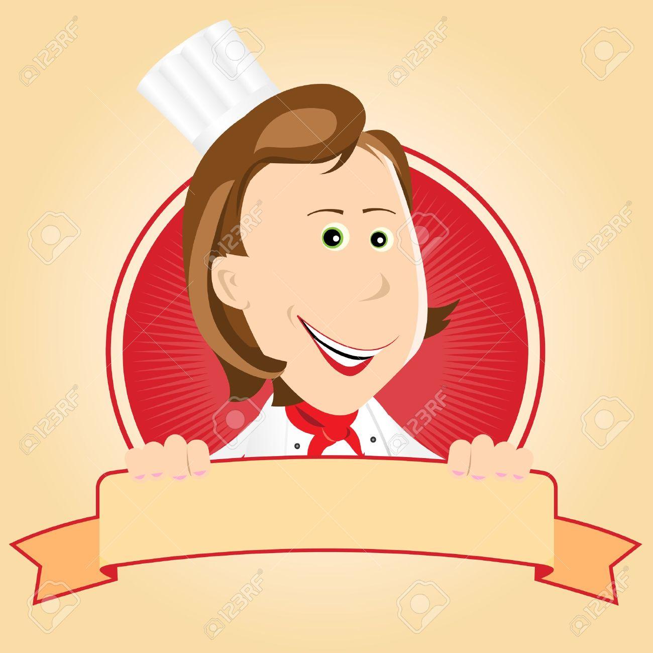 Illustration D Une Bannière De Dessin Animé Femme Chef Cuisinier