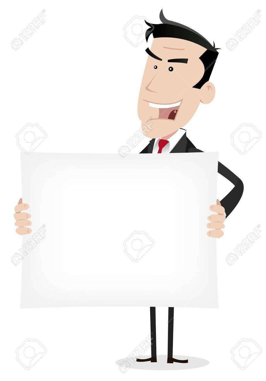 Illustration of a cartoon businessman holding a blank sign Stock Vector - 11248846