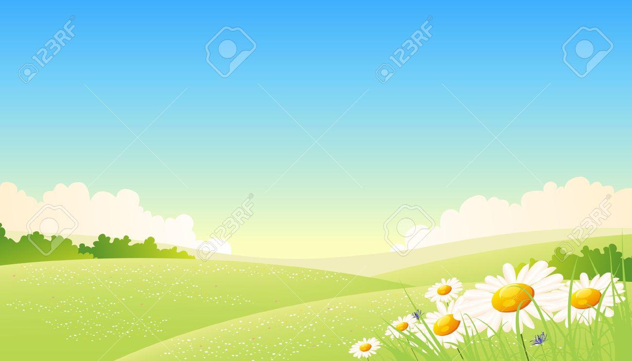 夏や春の季節のイラスト ポスターの背景、前景の花の風景 ロイヤリティ