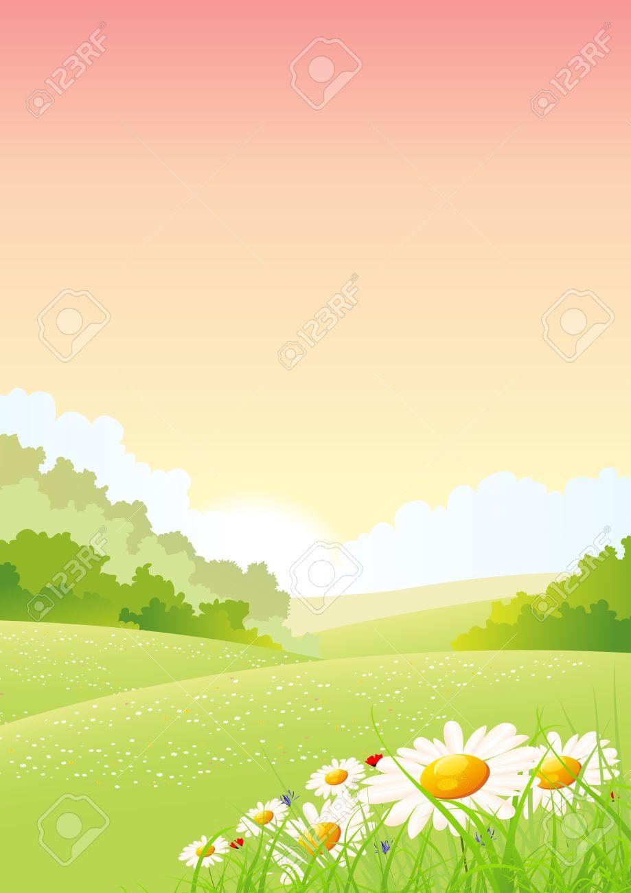夏や春の季節限定朝のイラストのポスターの背景、前景の花風景します