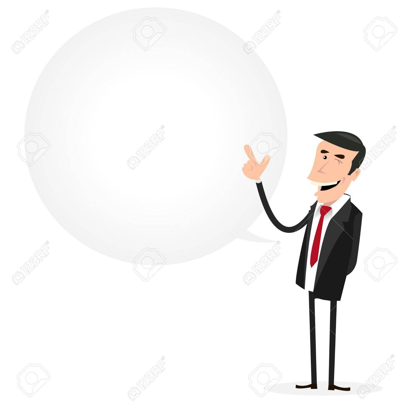 Illustration of a cartoon businessman with big bubble speech for your message Stock Vector - 11248841