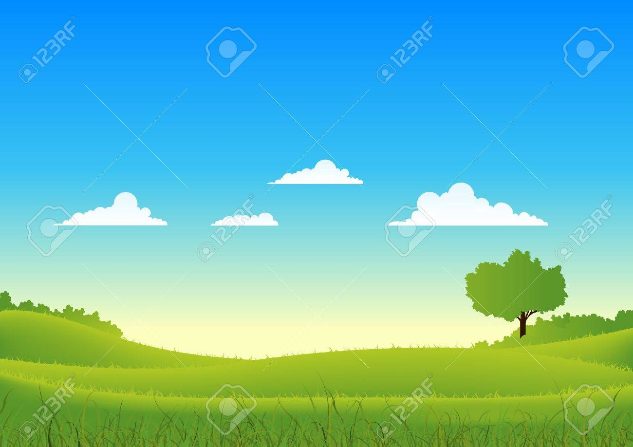 Illustration of a cartoon spring or summer seasons landscape Stock Vector - 11248901