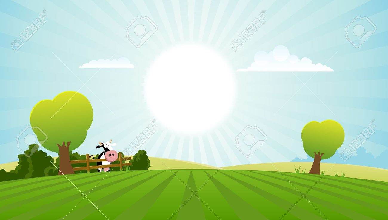 Illustration of a spring or summer season landscape with dairy cow Stock Vector - 11248923