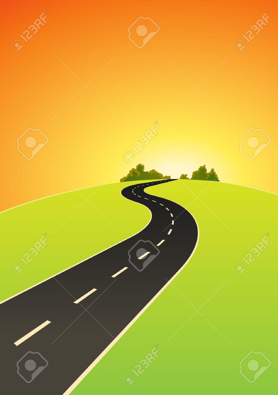 Dessin De Route illustration d'une route allant vers l'horizon de dessin animé dans