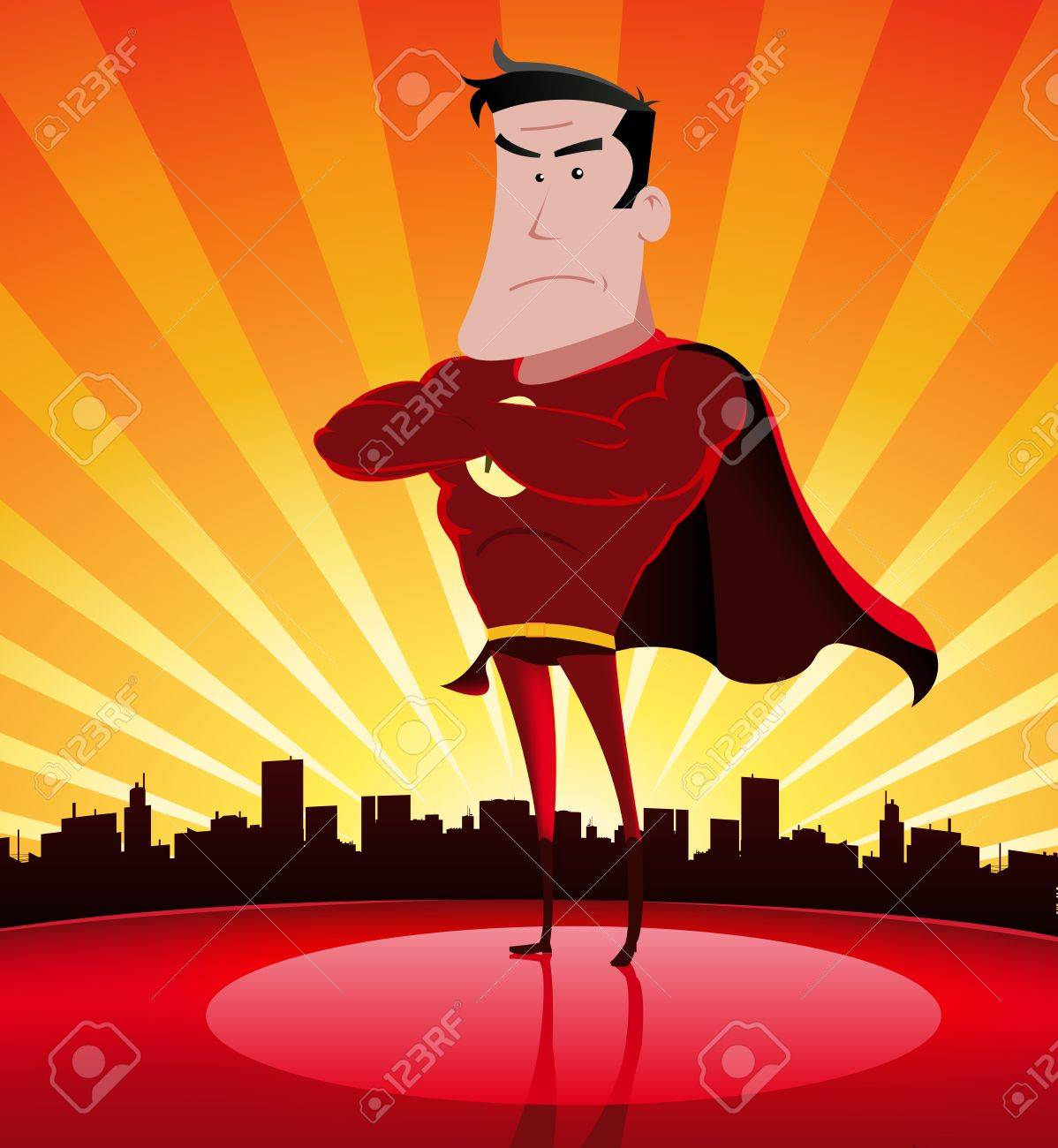 Illustration of a cartoon  hero standing proudly with cityscape behind Stock Vector - 11248944