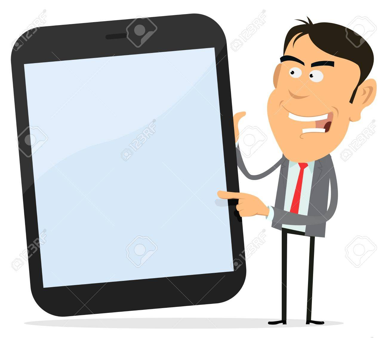 Illustration of a cartoon tablet PC with happy businessman pointing the screen Stock Vector - 11514292