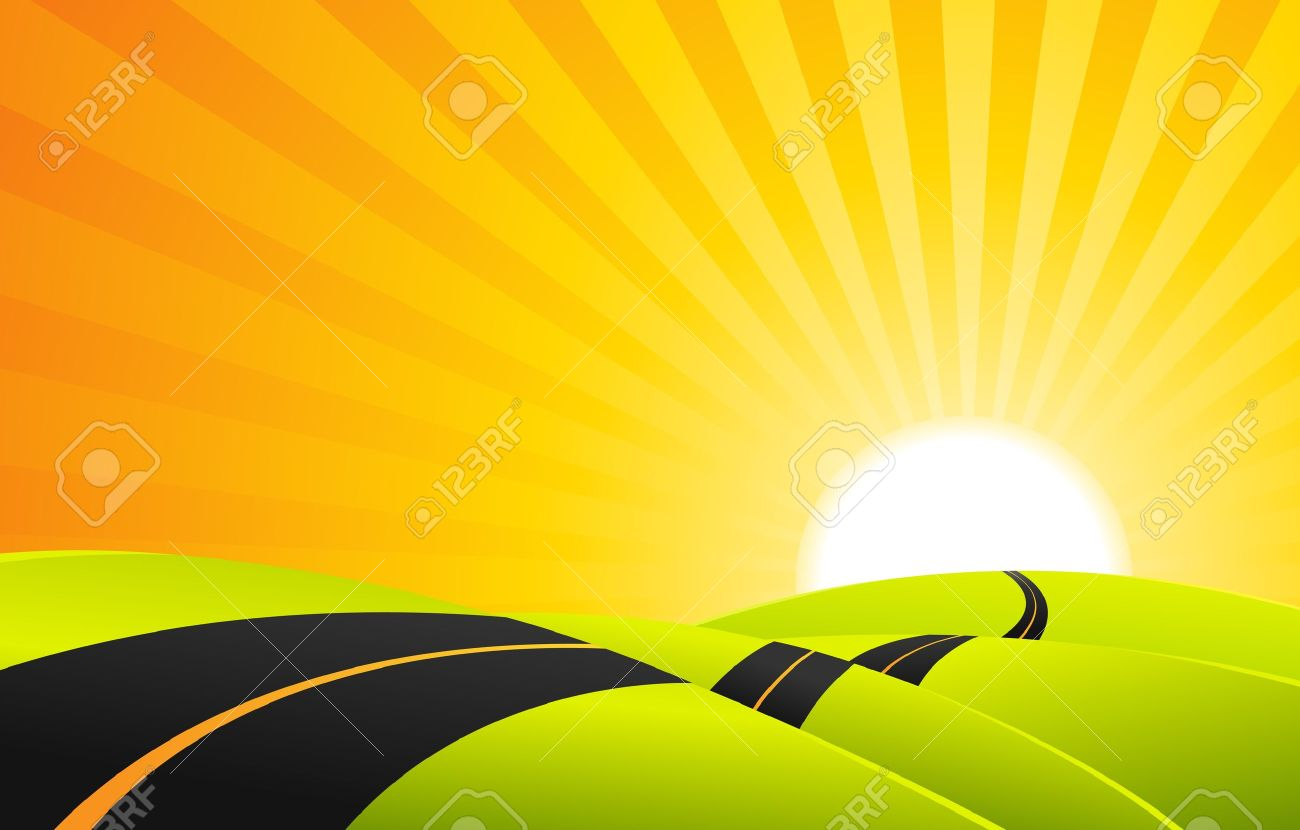 Illustration of a cartoon landscape road in the sunrise Stock Vector - 11576171