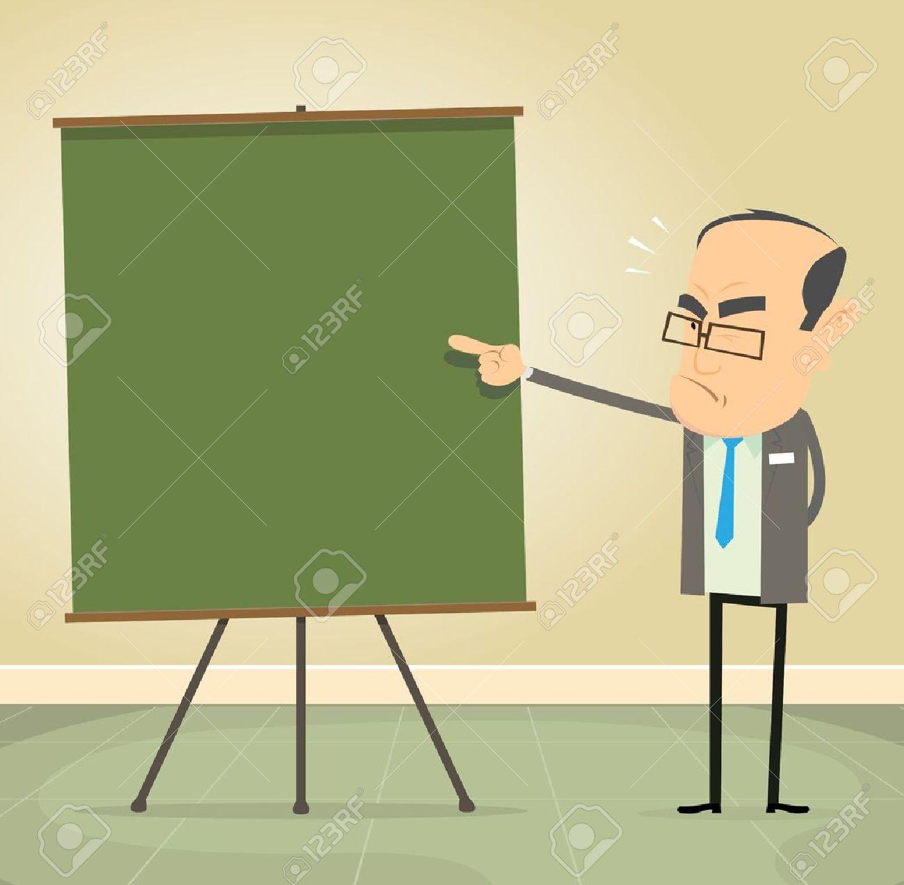 Illustration of a cartoon old school teacher teaching moral values