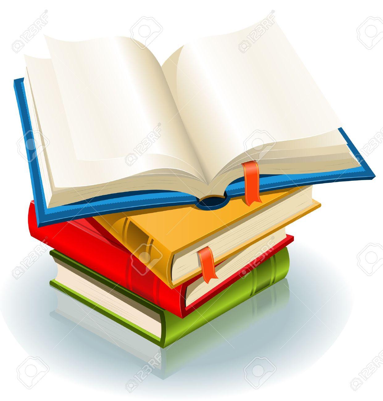 Illustration D Une Pile De Livres Elegants Et Un Livre Ouvert Avec Marque Page