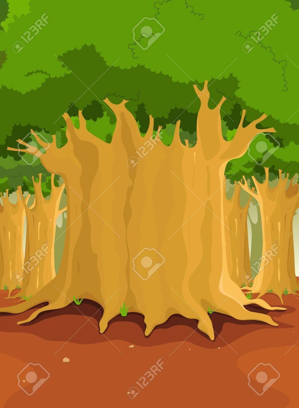 自然の背景の大きな木が森を漫画イラスト ロイヤリティフリークリップ
