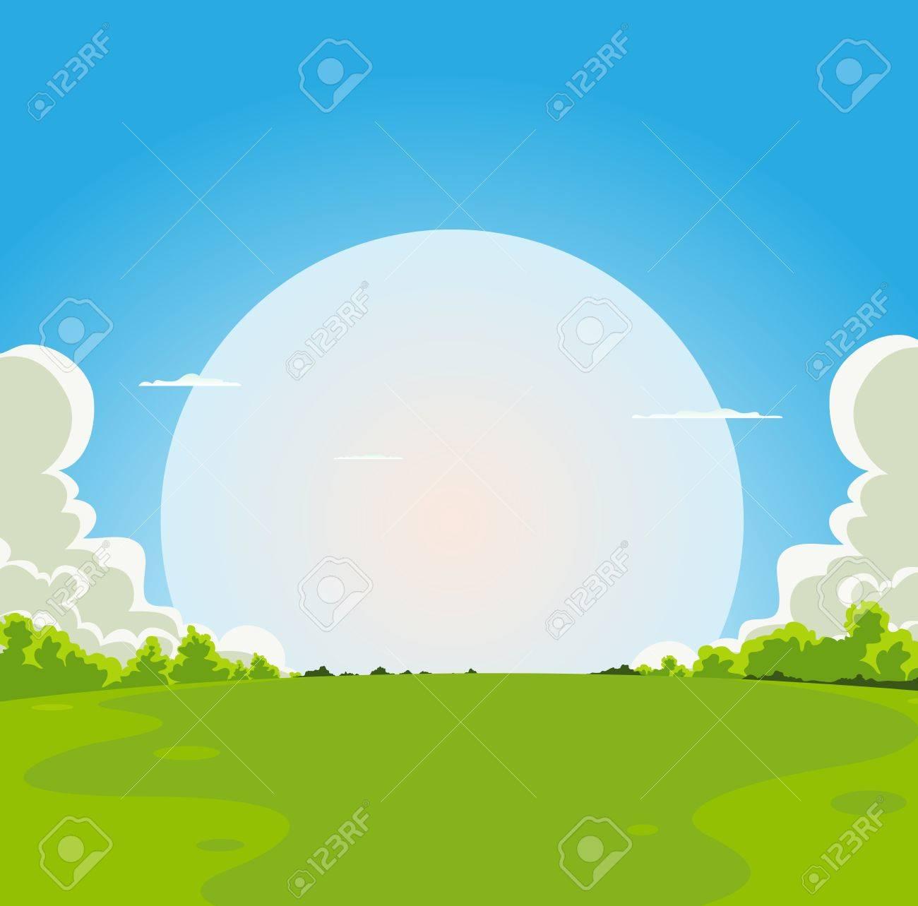 Illustration of a cartoon moon rising under spring fields landscape - 11841729