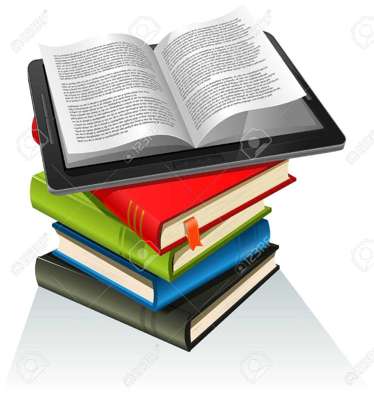 Illustration of a tablet pc e-book set upon a book stack. Imaginary model of e-book not made from a real existing product or copyrighted model Stock Vector - 11943676