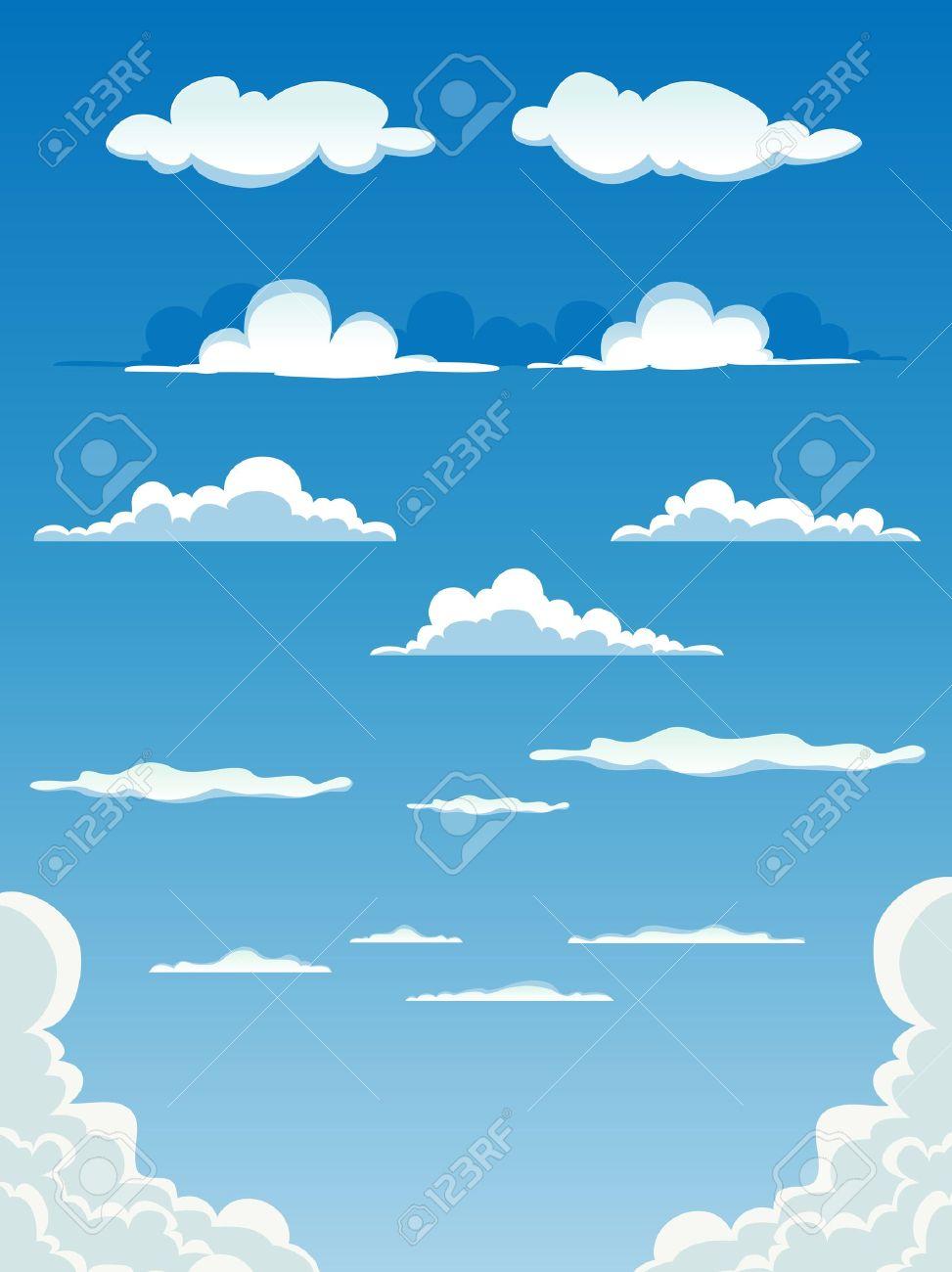 青空の背景の様々 な漫画雲のコレクションのイラスト。 ロイヤリティ