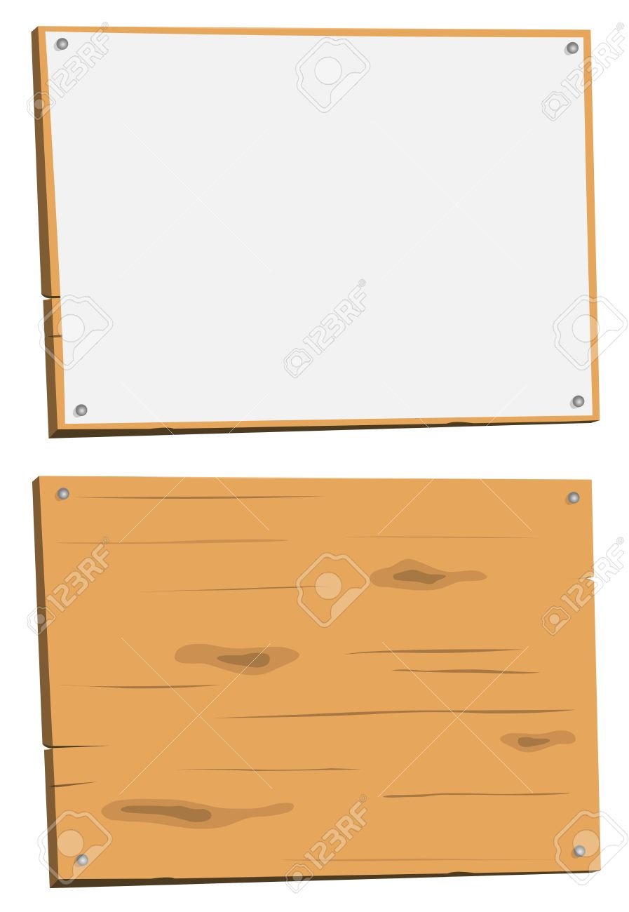 Illustration of a cartoon wood sign, white and in raw wood Stock Vector - 12273884
