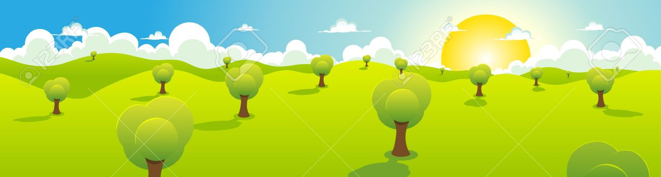 Illustration of a cartoon spring or summer landscape with trees, blue sky, sun and cloudscape - 12273887