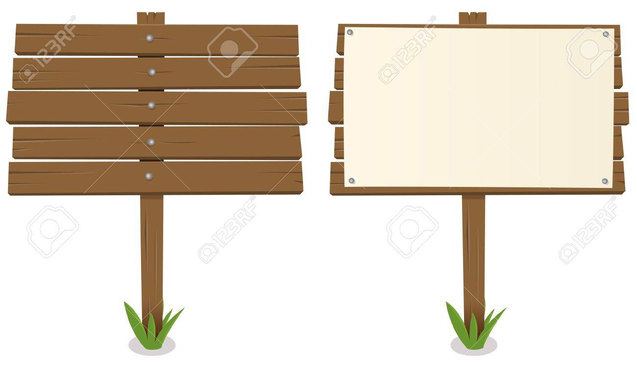 Illustration of a cartoon rustic wood billboard with and without sign Stock Vector - 12273902