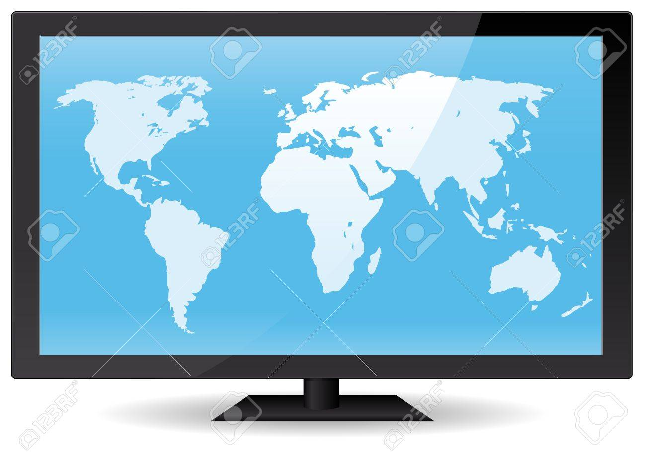 Illustration of a world map inside wide flat computer or tv screen illustration of a world map inside wide flat computer or tv screen vector eps and gumiabroncs Gallery