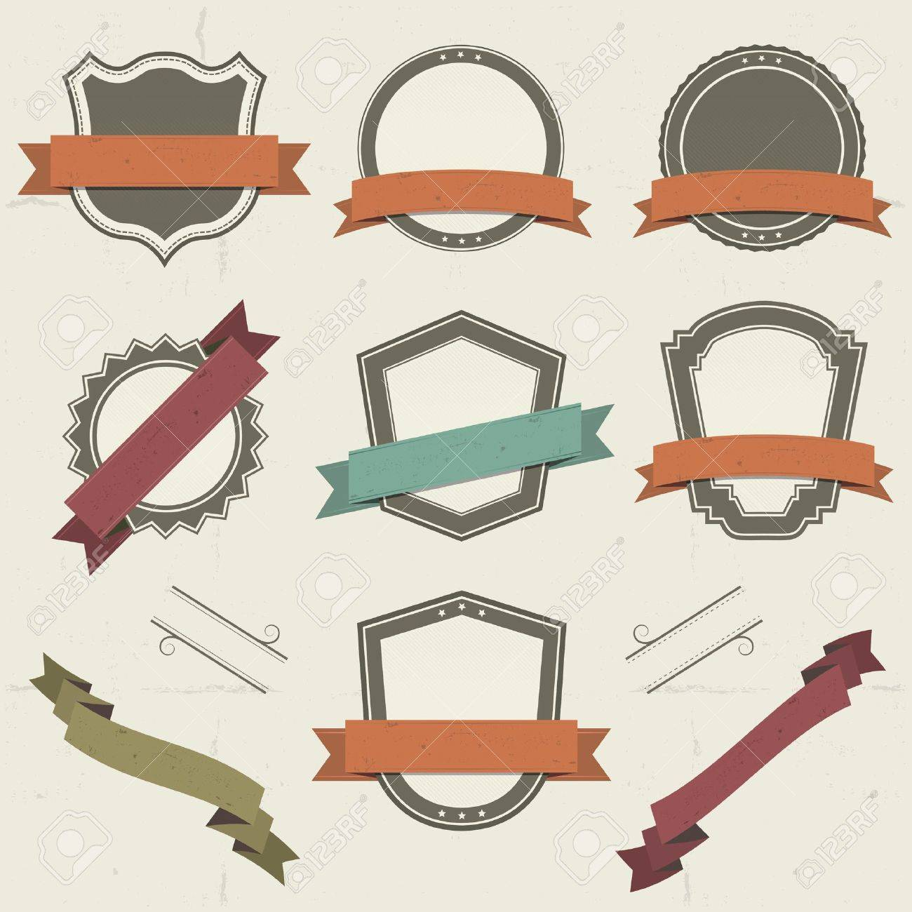Illustration of a collection of vintage shields and other badges with banners,  labels, ribbons for holidays and celebrations Stock Vector - 12484536