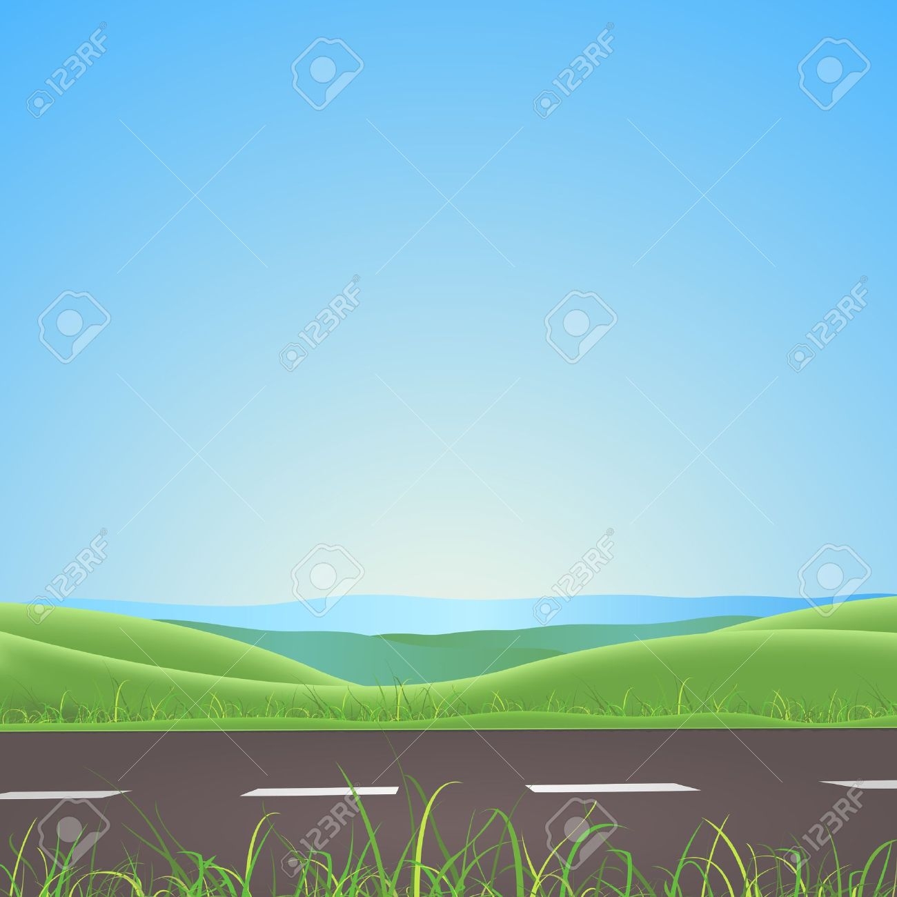 Illustration of a spring or summer season road on nature landscape with lawn and fields behind Stock Vector - 13043224