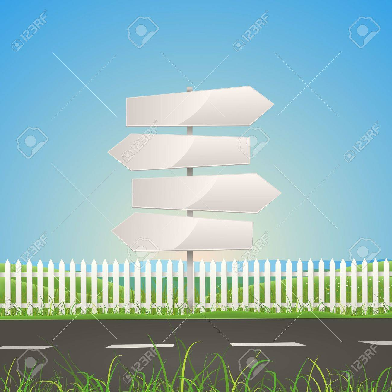 Illustration of a summer or spring season road on nature landscape with white arrow road signs Stock Vector - 13472514
