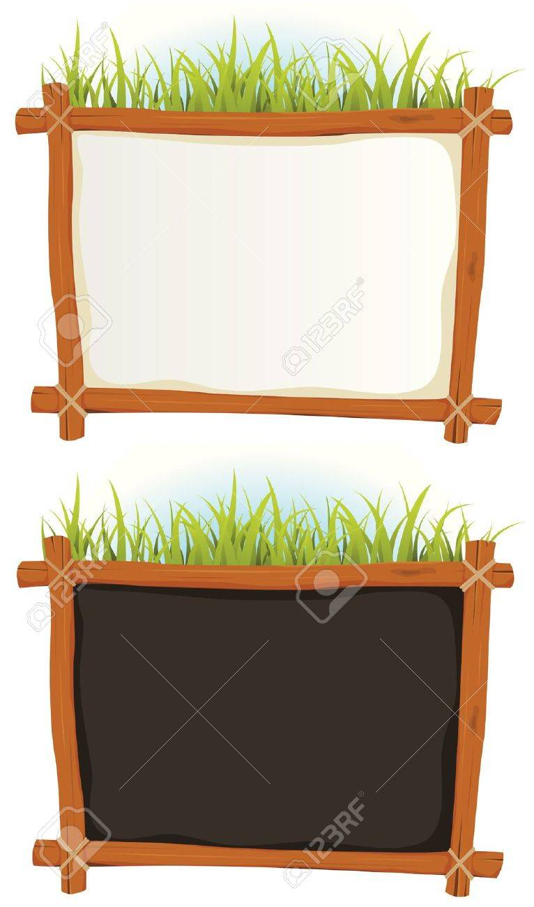 Wood frames set free vector - Illustration Of A Set Of Two Cartoon Wood Frame With Blank White And Black Sign For