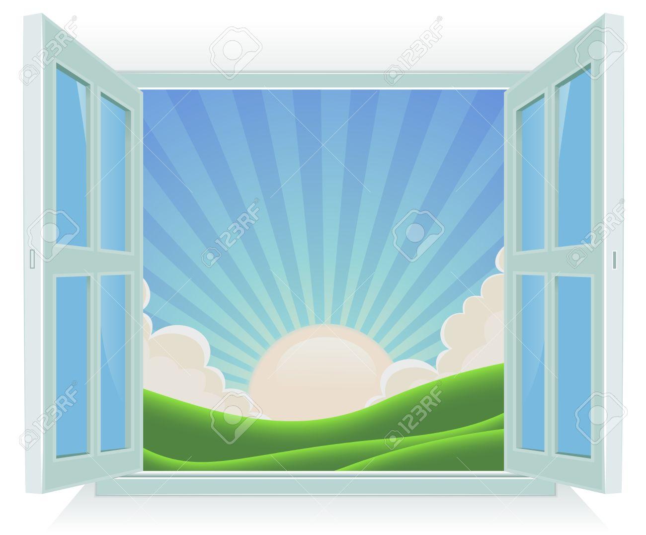 Offenes fenster  Illustration Von Frühling Oder Sommer Sonnenaufgang Landschaft ...