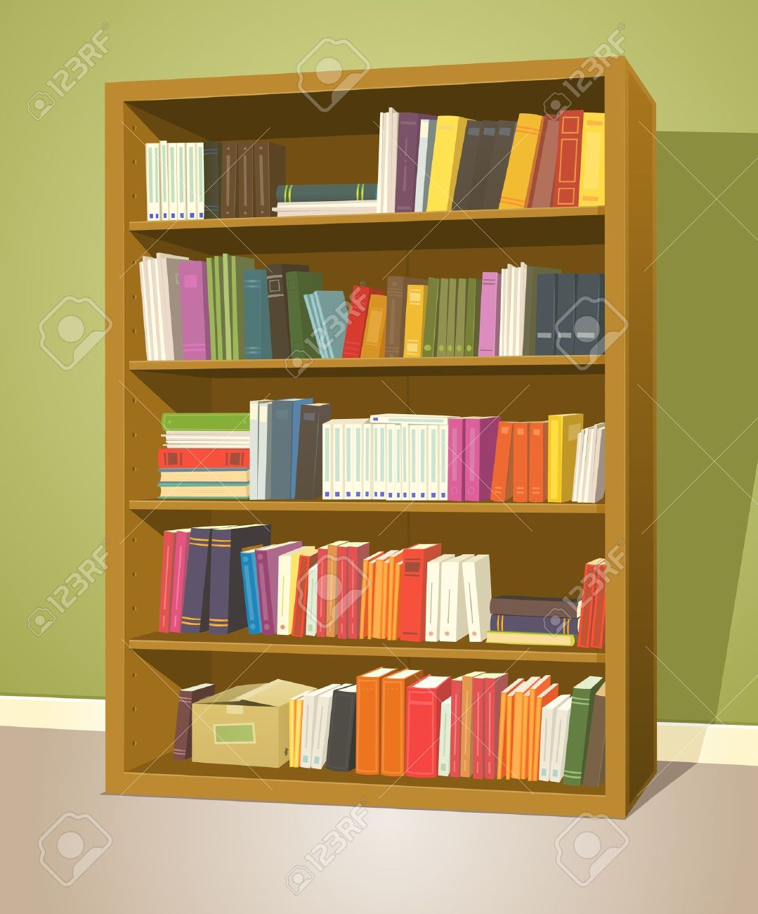 Illustration Of A Cartoon Home Or School Wooden Bookshelf Inside Library Store With Books Rows Stock
