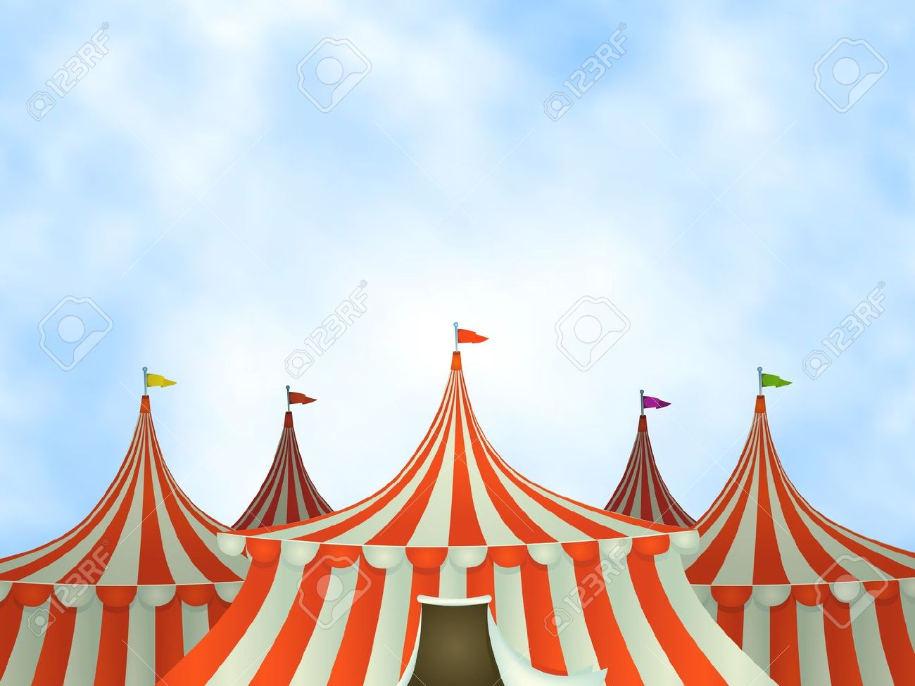 Illustration of cartoon circus tents on a blue sky background Stock Vector - 14116390  sc 1 st  123RF.com & Illustration Of Cartoon Circus Tents On A Blue Sky Background ...