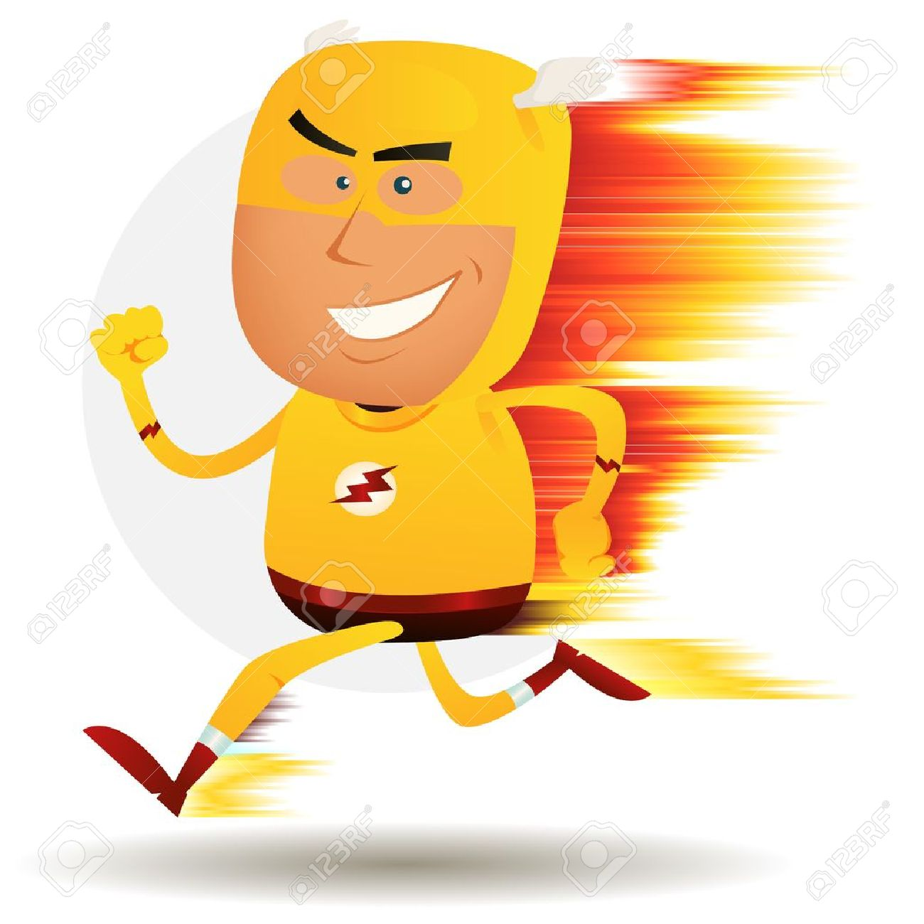 Illustration of a cartoon happy super hero running faster than a ligthning bolt with visual speed effect Stock Vector - 14116422