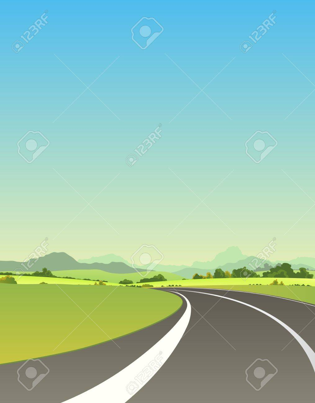Illustration of a summer or spring highway road driving to mountains landscape for vacations and travel background Stock Vector - 14116424