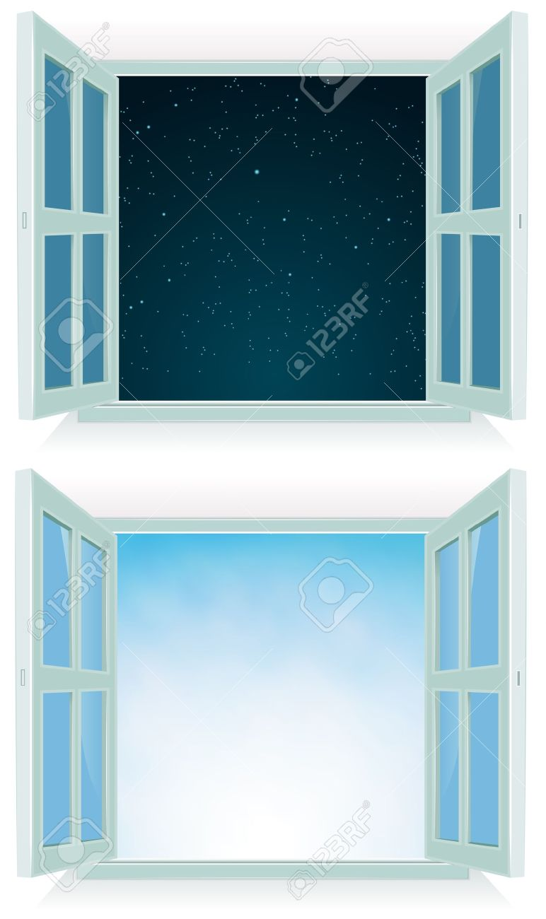 Illustration of a home open window with day and night sky background Stock Vector - 14196736