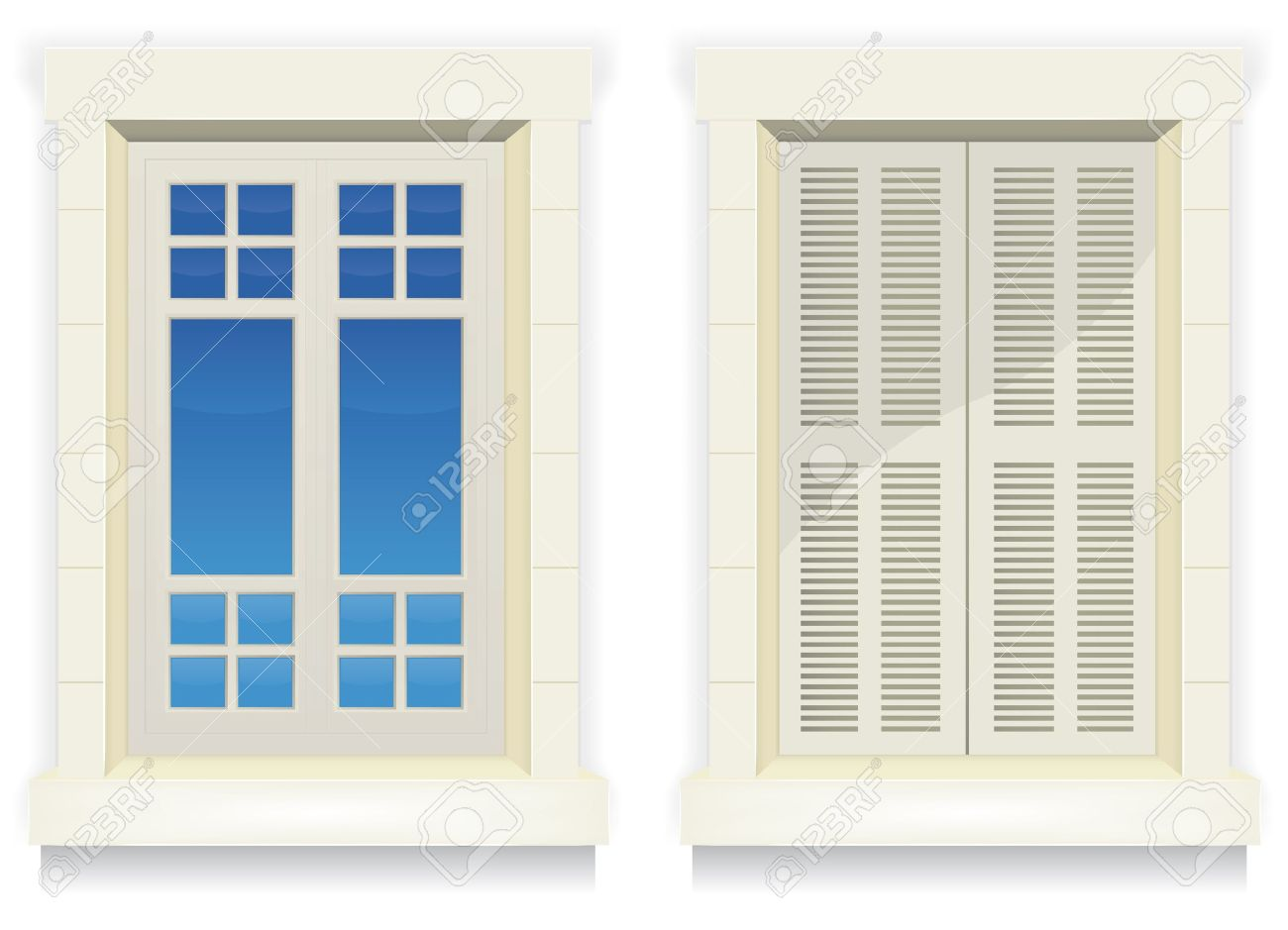 illustration of separated exterior home windows with and without