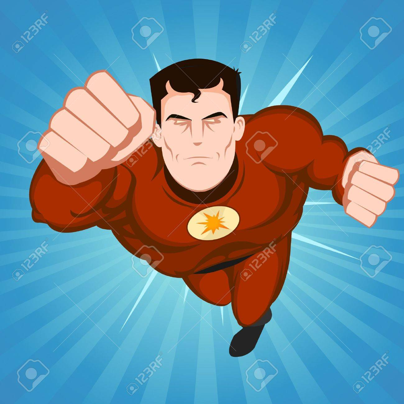 a flying comic superhero Superhero Flying Vector