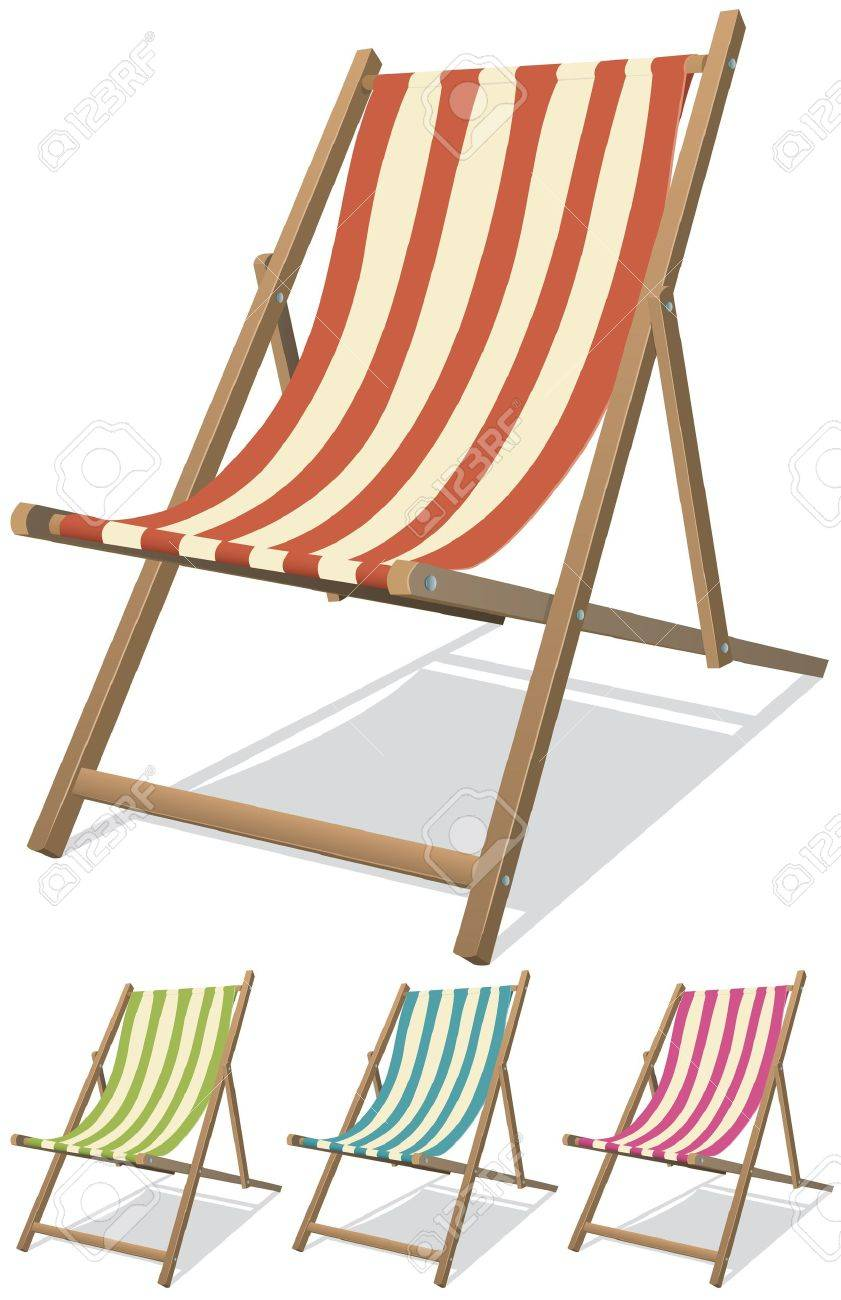 Illustration of a collection of beach chairs for summer vacations relaxation and holidays on the beach Stock Vector - 14295462