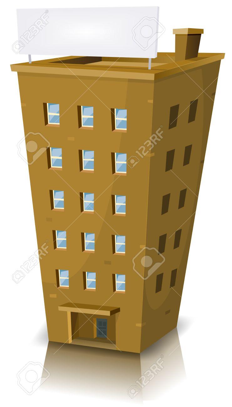 Illustration Einer Karikatur Hausbau Turm Mit Banner Lizenzfrei ...