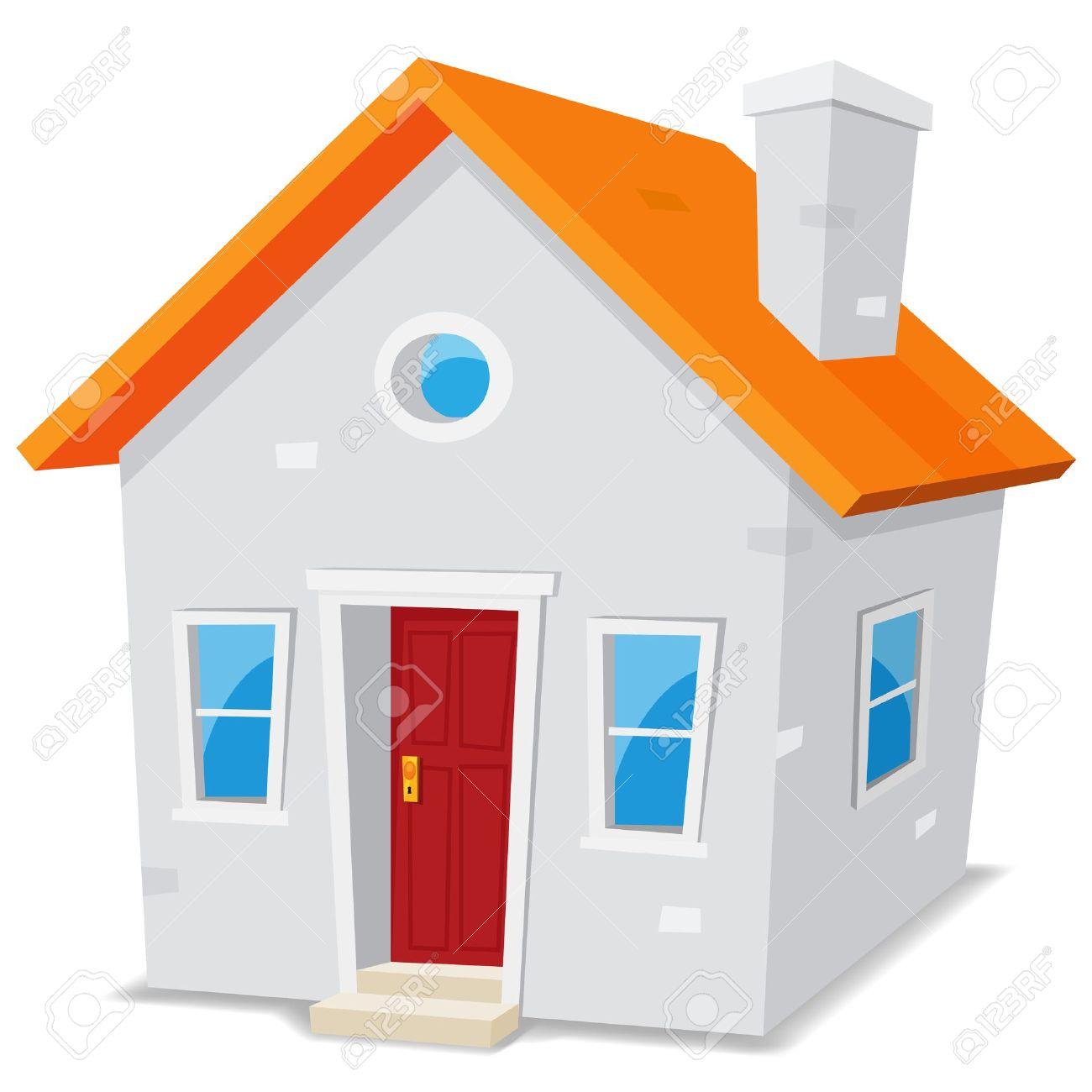 Illustration Dun Dessin Animé Petite Maison Simple Sur Fond Blanc