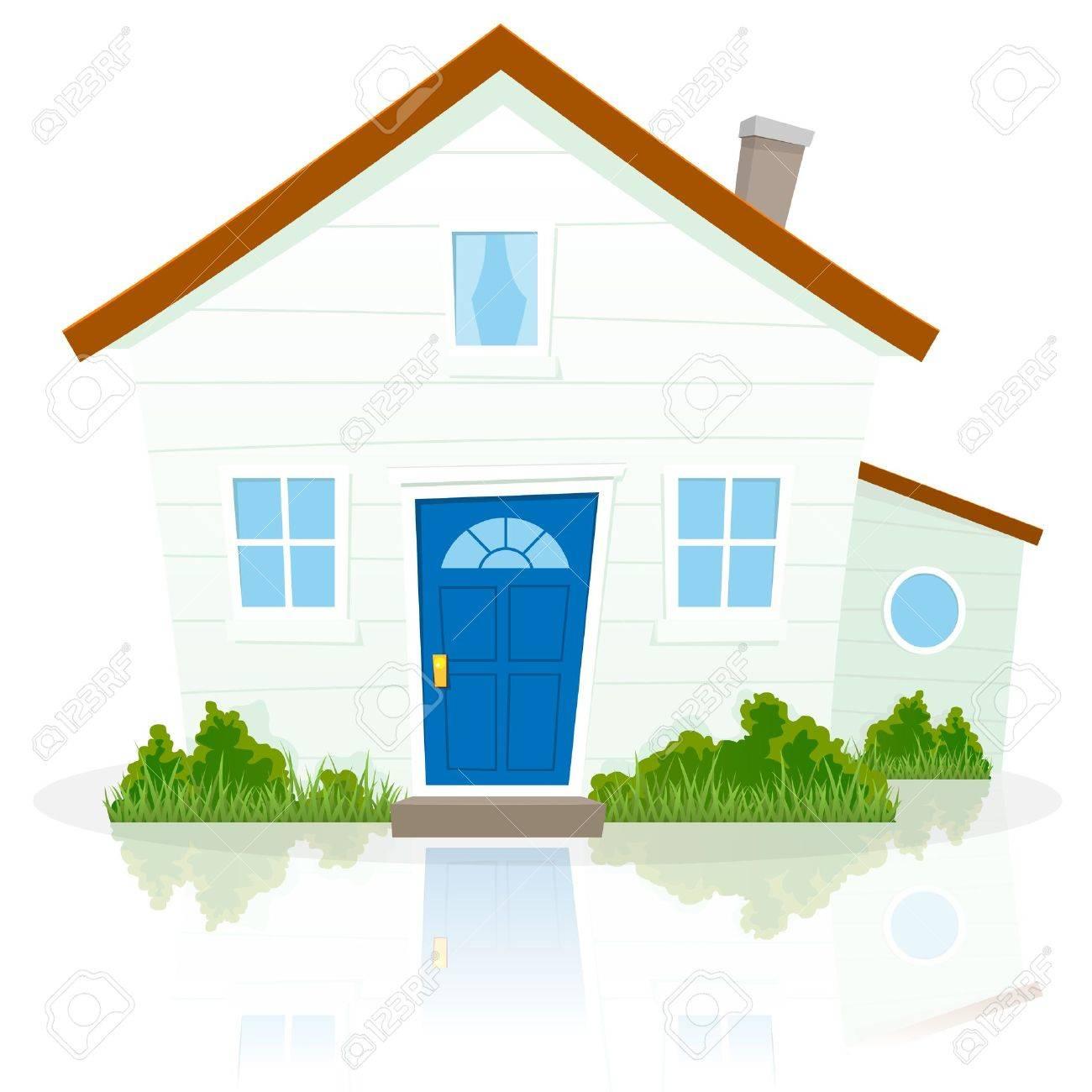 Illustration Einer Karikatur Einfaches Haus Auf Weißem Hintergrund ...