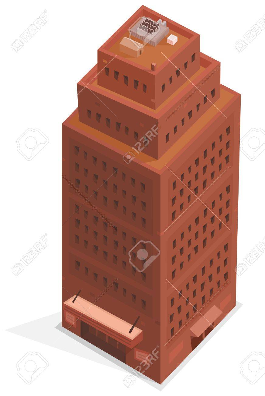 Illustration of a cartoon isometric like high office building tower plenty of windows and floors Stock Vector - 15315040