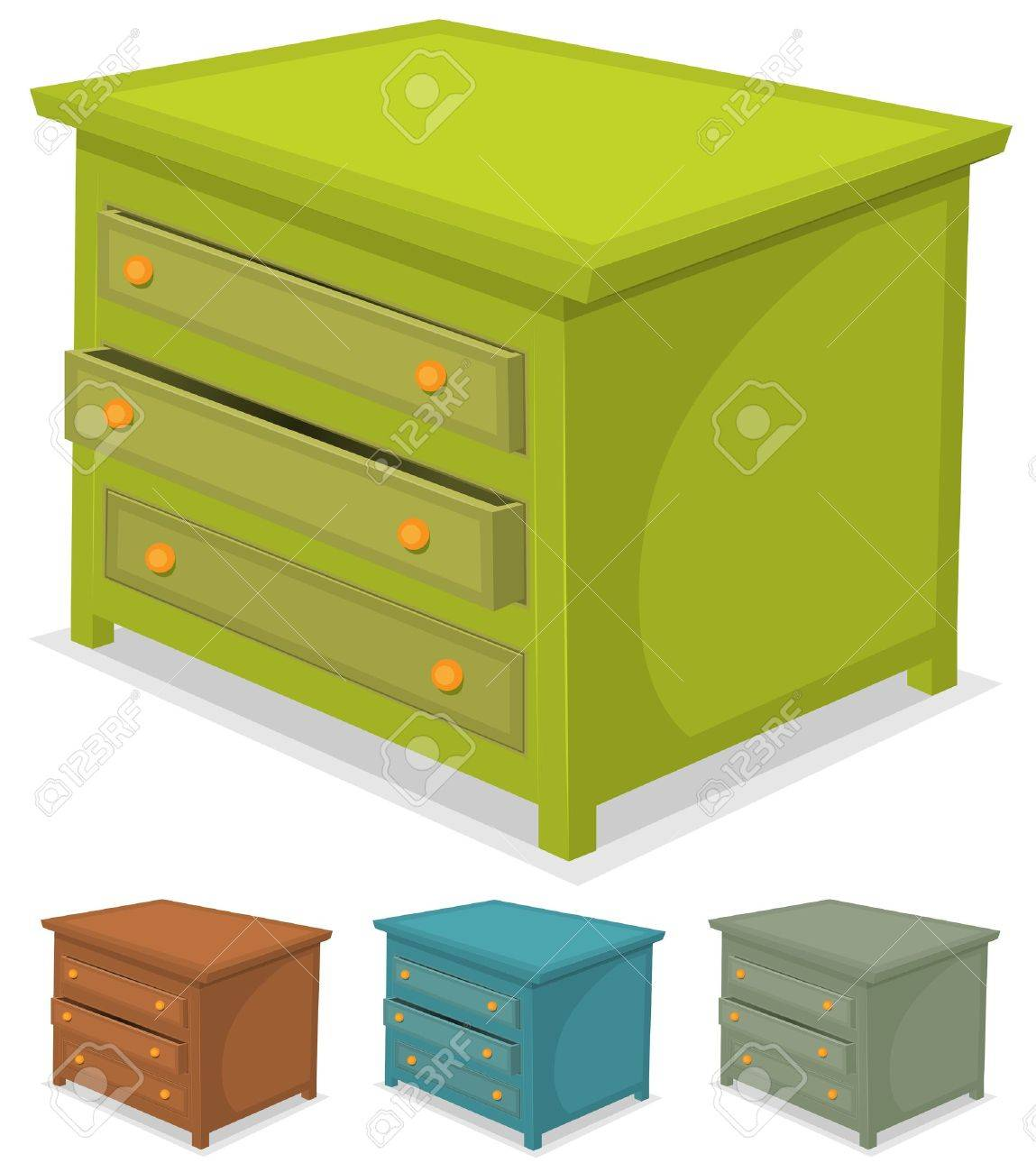 Illustration Of A Set Of Cartoon Wooden Cabinet Furniture In ...